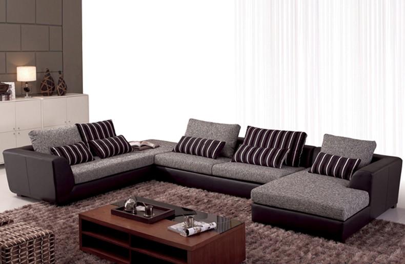fabric sofa set. U Shaped Gray Fabric Sofa Set