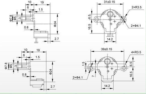 24byj-48 12v 5 line 4 phase stepper motor deceleration permanent magnet motor