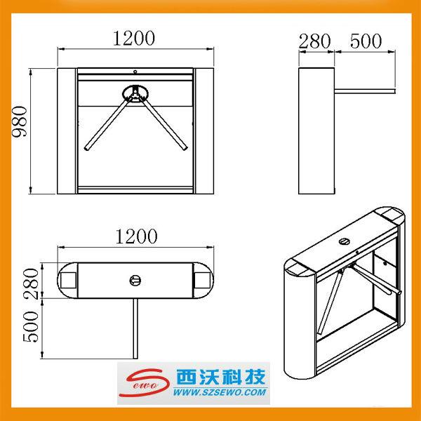 Stainless Steel tripod Turnstile gate bi-directional passing turnstile