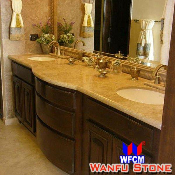 Prefabricated Bathroom Countertops: Natural Granite Tops New Venetian Gold Bathroom Corner