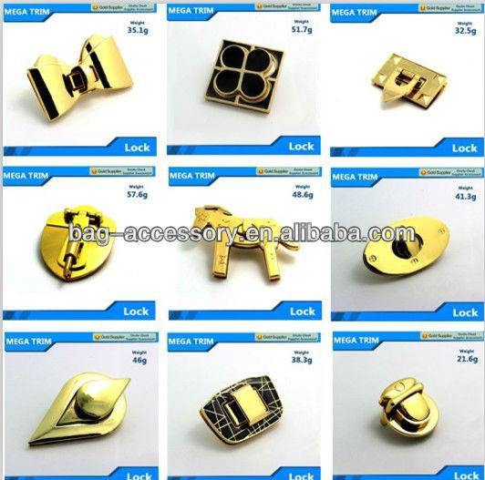Fancy Style Light Gold Hardware Turn Lock Zinc Alloy Metal Bag
