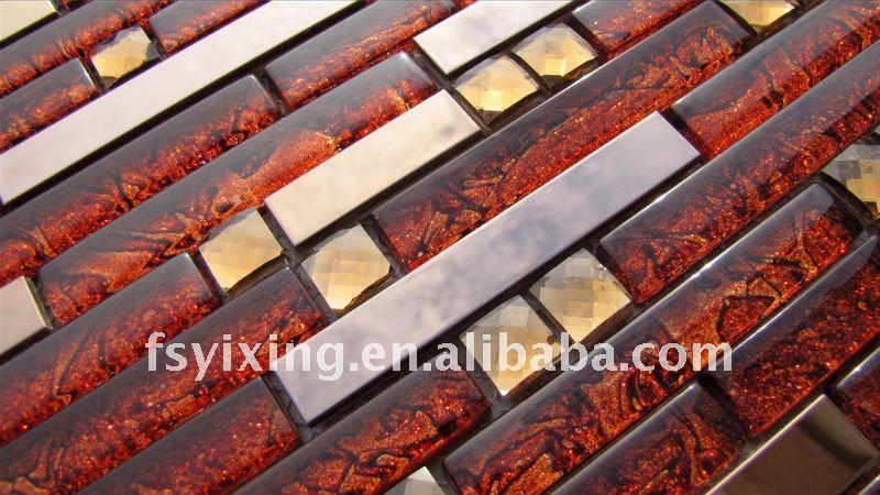 Metalliche in acciaio inox d rosso scuro piastrelle di vetro