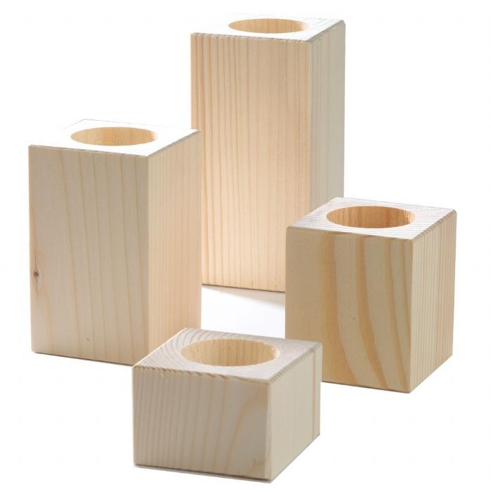 Unfinished set of 4 natural pine wood block candle holders view wood carved candle holders - Unfinished wood candlestick holders ...