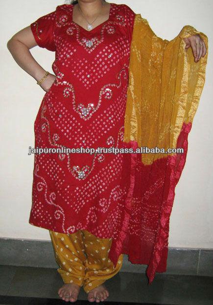 Cotton Bandhani Tie Dye Salwar Kameez Unstitched For