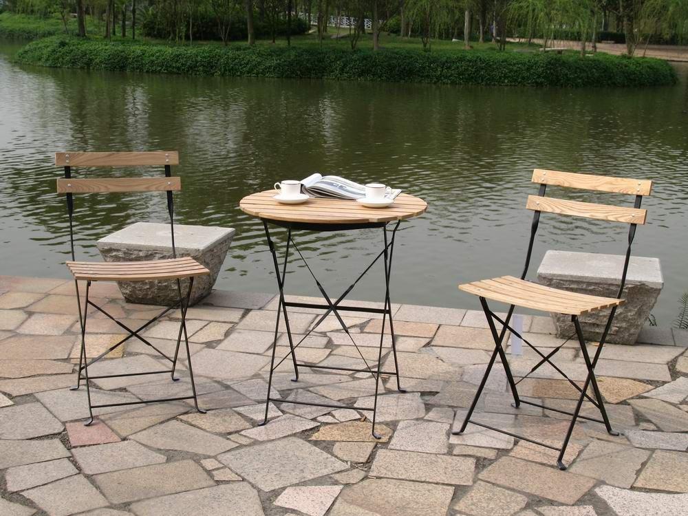 Sedie Per Giardino Ferro.Mobili Da Esterno Cenere Di Legno In Ferro Sedia Pieghevole E Tavolo