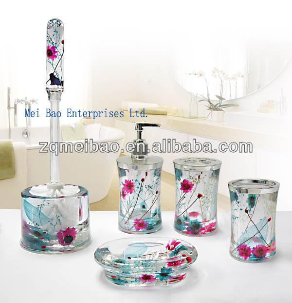 Double Wall Acrylic Plastic Bathroom Accessories Set Liquid Soap