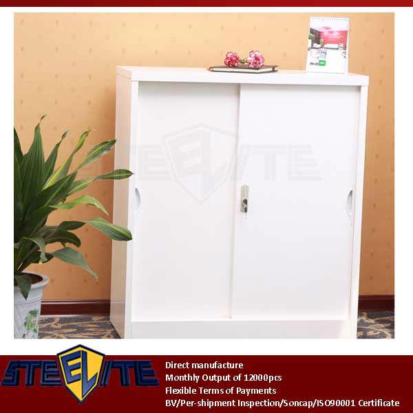 Miniature White 2-tier Swing Door Metal Shoe Storage Cabinet ...