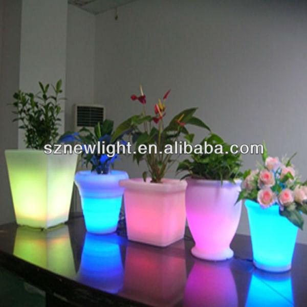 light up planters led plastic flower pots/mini led pots plants/led