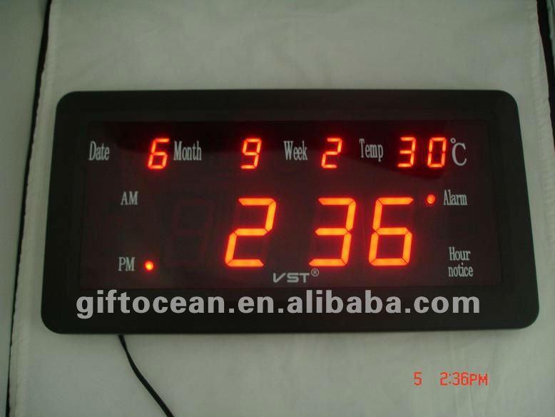 Led Light Digital Wall ClockLarge Led Display Digital Calendar