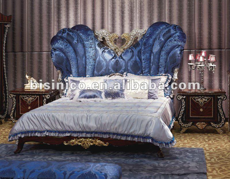 Nuevo Elemento-clásico Azul Bronce Tela Y Madera Muebles Dormitorio ...