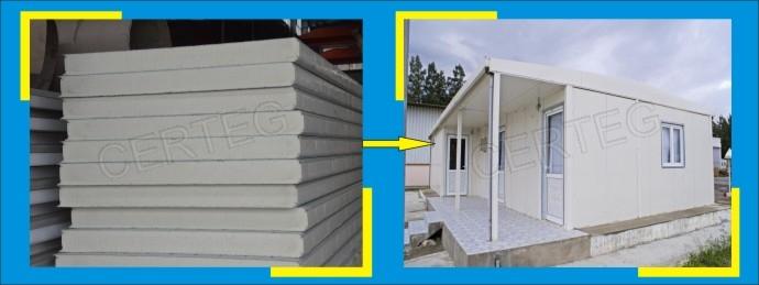 Casa prefabricada edificio material poliuretano paneles - Casas de panel sandwich ...