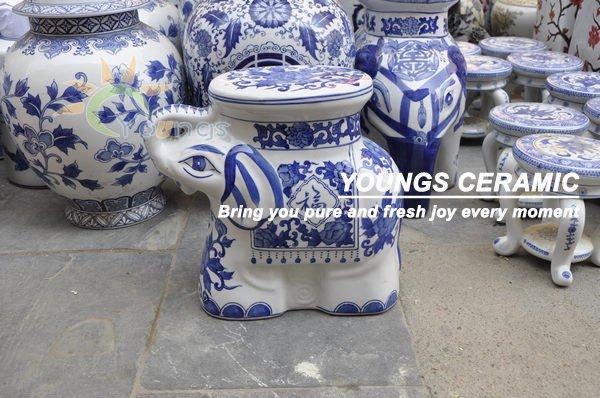 Chinese Blue Amp White Ceramic Porcelain Young Elephant Garden