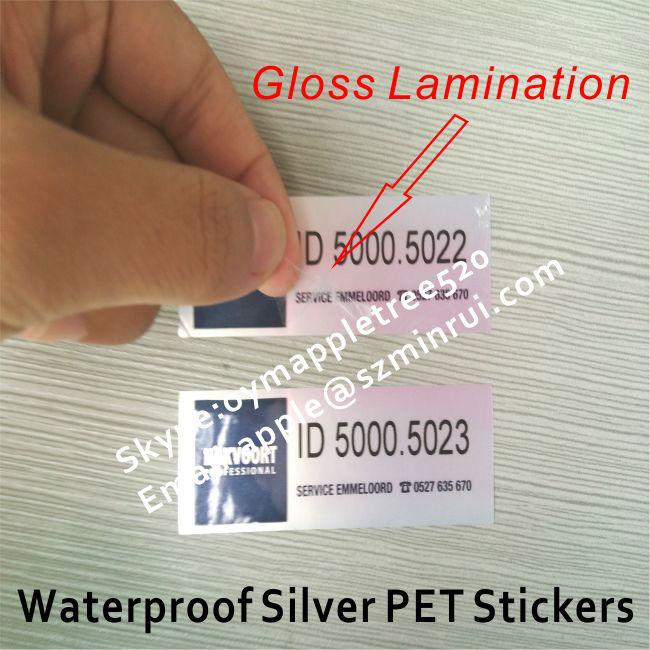 Custom printed silver polyester stickermatt silver foil label sticker rollslaminated gloss silver
