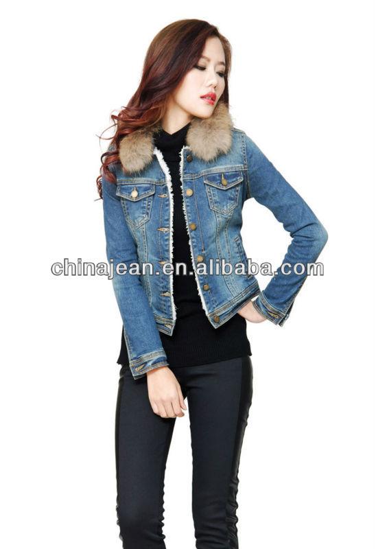 Giubbotto di jeans con pelliccia femminile