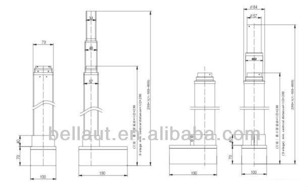 Electric Telescopic Actuator 3 Stage Lift Column Lift