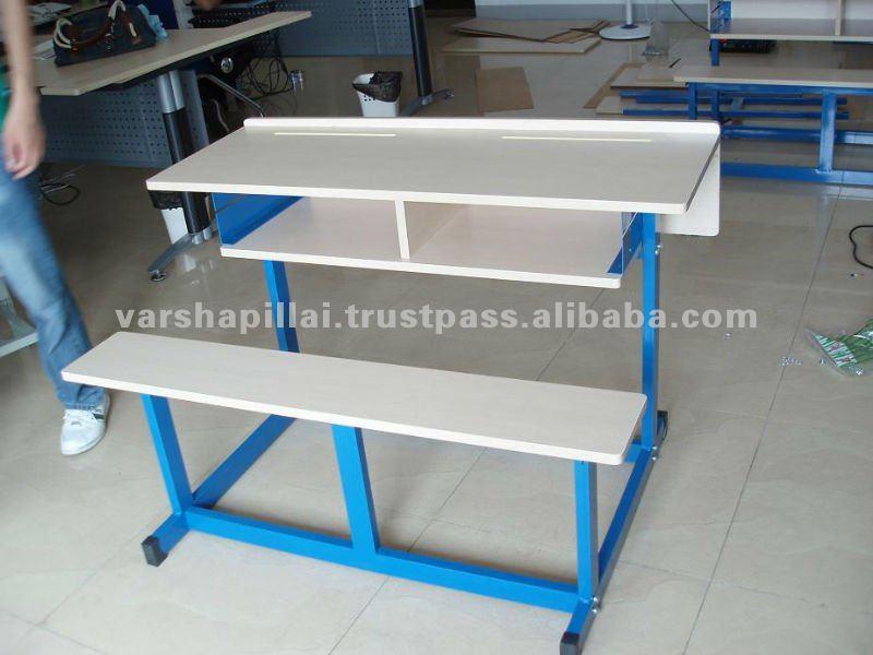 New Design Modern School Furniture / Double School Desk And Chair ...