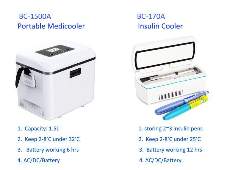 Mini Fridge Portable Medical Refrigerator Battery