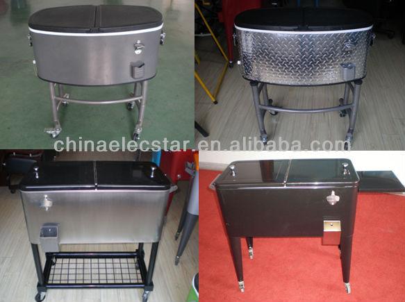 Party Patio Beverage Drink Rolling Cooler Cart With Wheel/metal Cooler  Box,Steel Patio