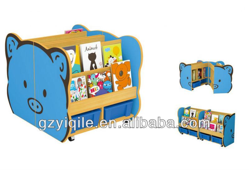 Kindergarten Furniture Of Cartoon Movable Bookshelf For
