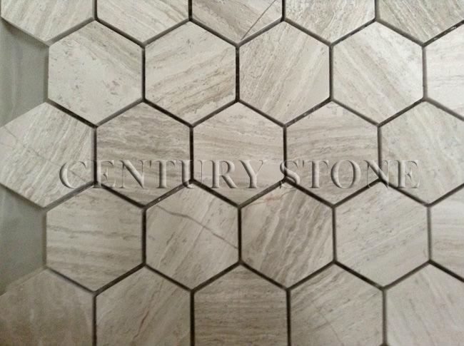Esagonale legno bianco mosaico di marmo mattonelle di