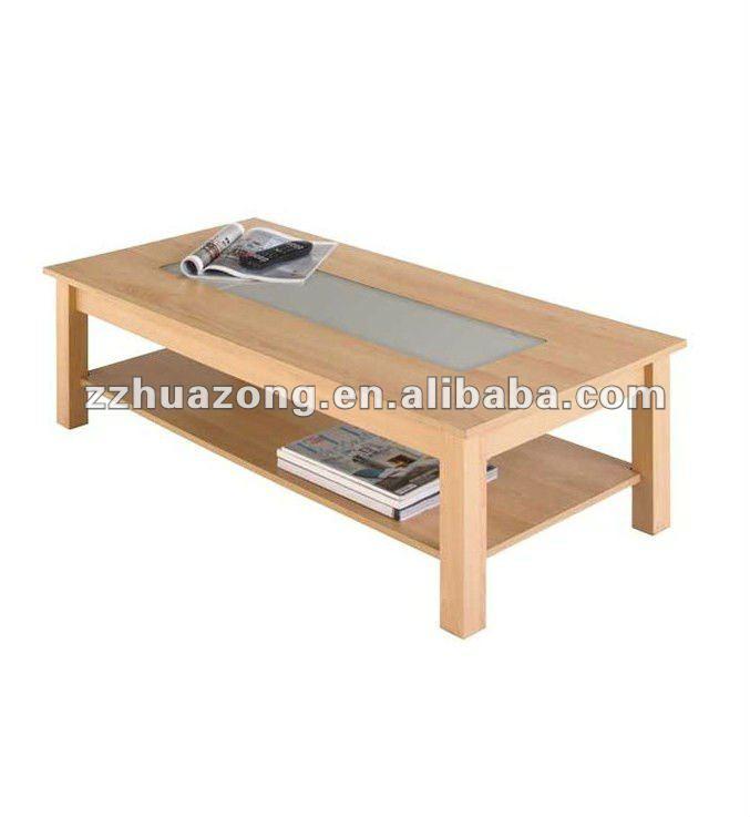 Wooden Coffee Table Beech Or Walnut Wood Milky Gl