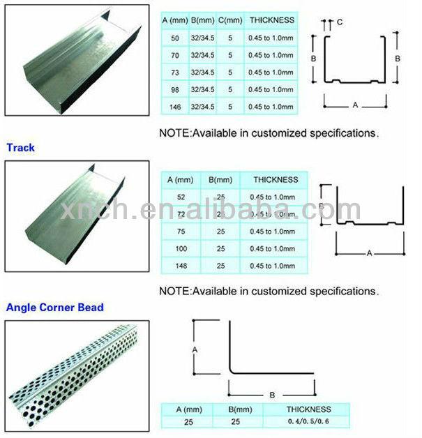Drywall Metal Stud Framing Size : Galvanized drywall steel stud price buy metal