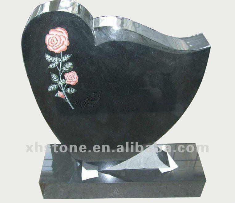 Shanxi Black Granite Flower Engraving Heart Shaped