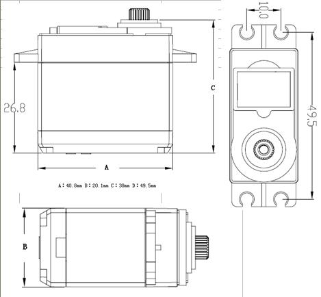 Feetech Standard 20kg.cm Metal Gear Digital Brushless Servo FT517BL