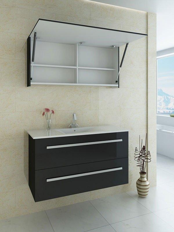 Black bath furniture set with up lift door mirror cabinet buy bath furniture set bathroom for Bathroom vanity with mirror doors