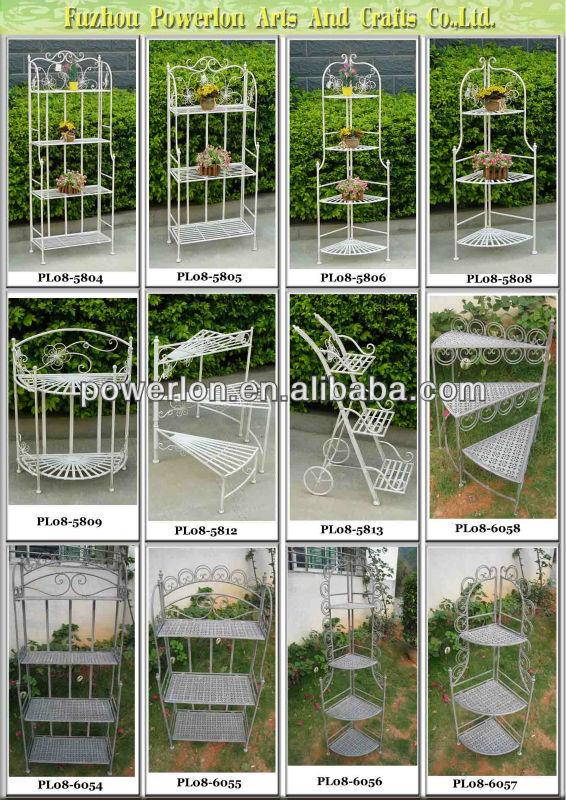 Charming 3 Tier Home And Garden Decorative Metal Shelves