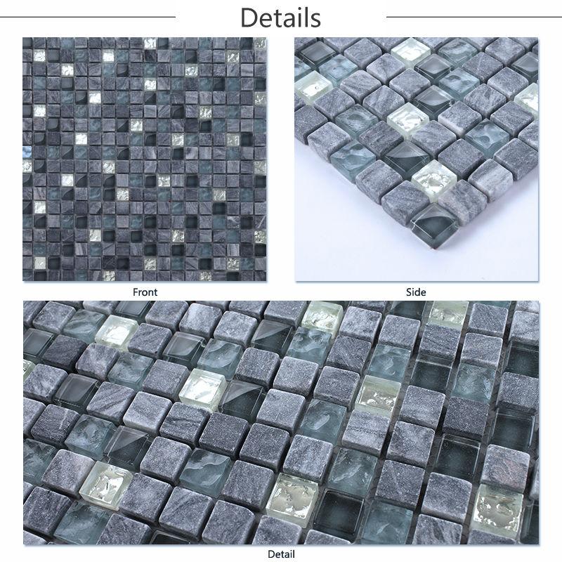 Kitchen Wall Tiles Sri Lanka: Ljo Jtc-1321 Blue Natural Stone Mix Glass Mosaic