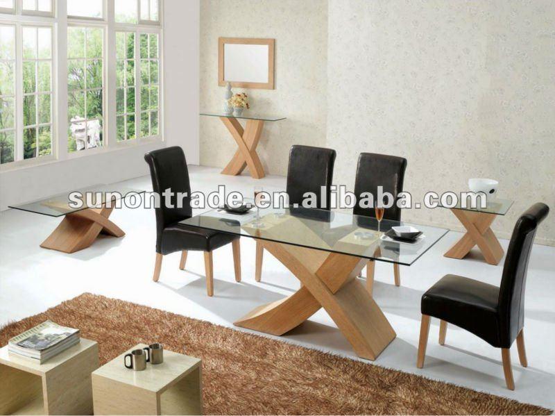 Oval mesa de comedor superior de vidrio con base de madera for Mesas de comedor en vidrio y madera