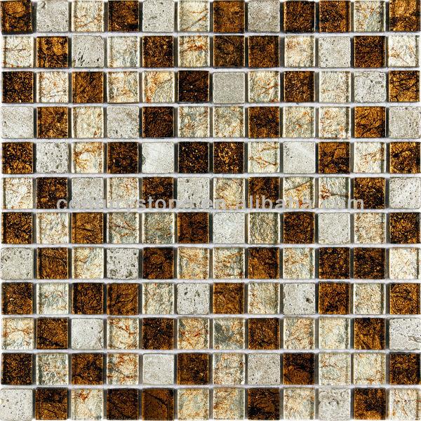 Kitchen Bathroom Coated Resin Stone Metallic Copper Rust Gl Mosaic Tile