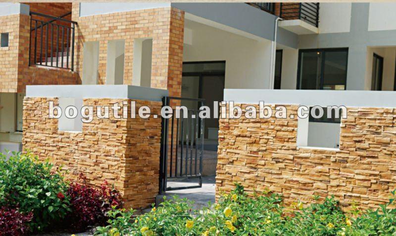 Paredes exteriores imitacion piedra panel de pared de for Fachadas con azulejo
