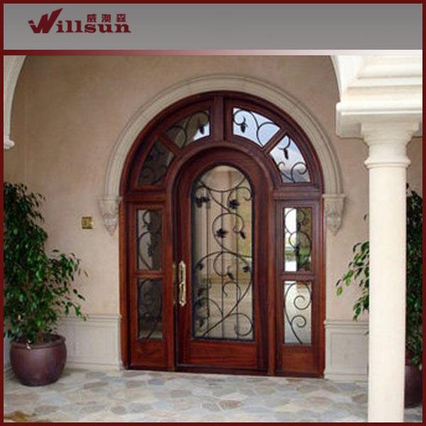 Entr e en fer forg porte en verre et bois buy porte en fer forg verre et bois entr e porte for Porte en fer et verre