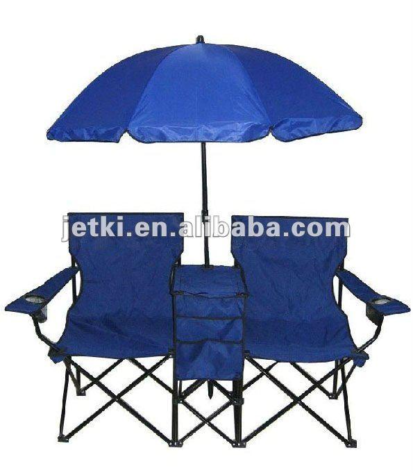 Pliant Double Chaise De Plage Avec Parasol Refroidisseur
