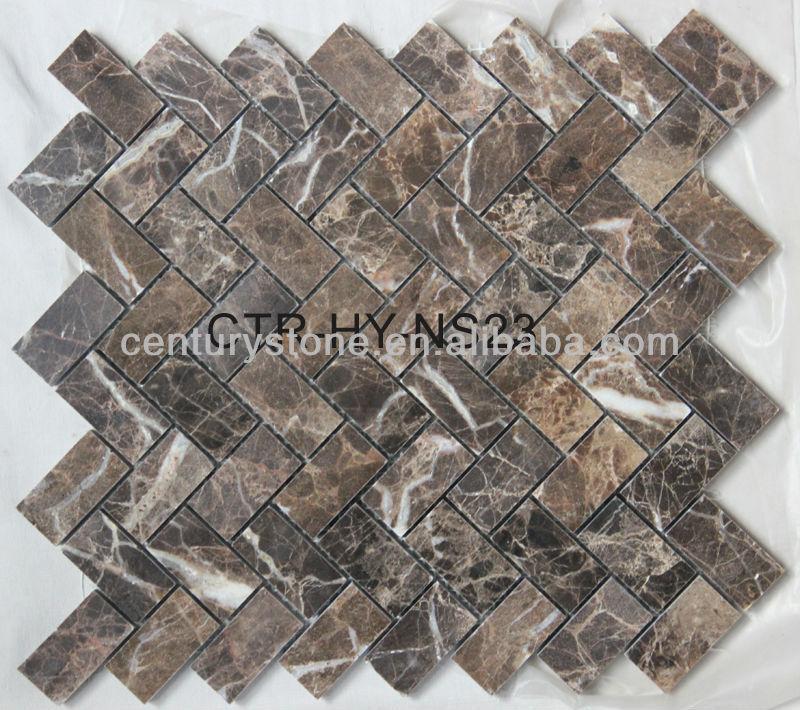 Polished Carrara Carrera White Herringbone Marble Mosaic