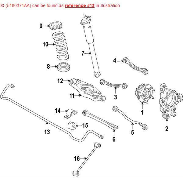 Oem 5180371aa Rear Suspension Lower Control Arm Bushing