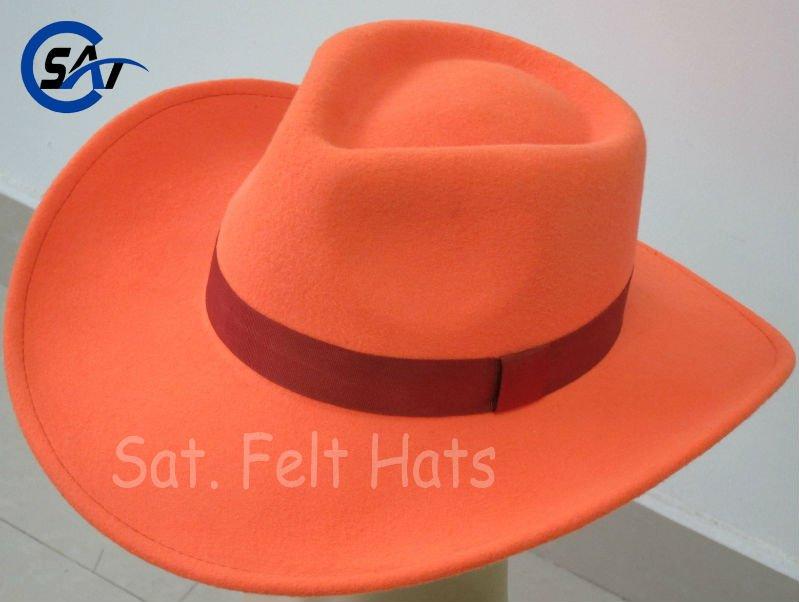a88fe1c799c59 100% Wool Felt Solid Blaze Orange Cowboy Hat - Buy Blaze Orange ...