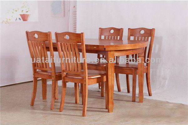 Plegable mesa de madera maciza y sillas de madera barata for Modelos de mesas de comedor de madera