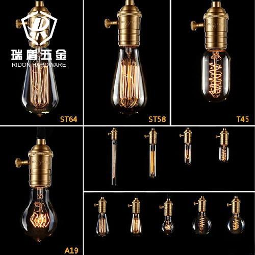 hei er verkauf jahrgang kurze bronze kupfer lampenfassung mit draht und birne pendelleuchte. Black Bedroom Furniture Sets. Home Design Ideas