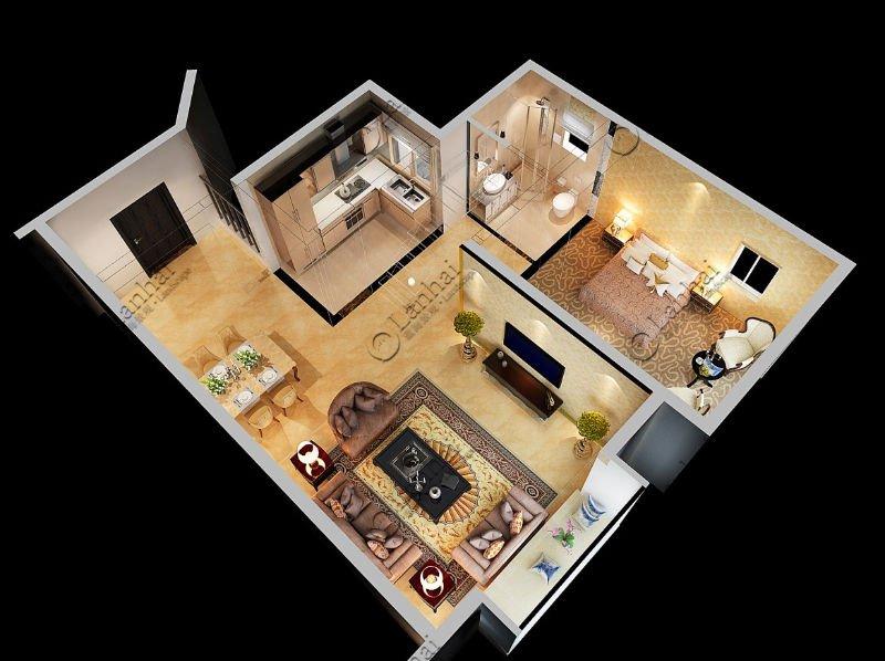 Villa Floor Plan Warm Color Interior Design