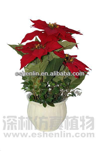 2016 wholesale artificial poinsettia plant silk poinsettia