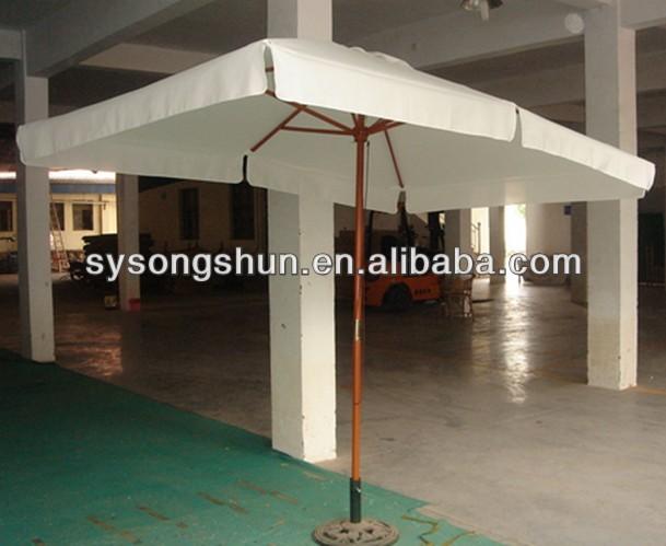 Double Roof Windproof Wood Patio Umbrella