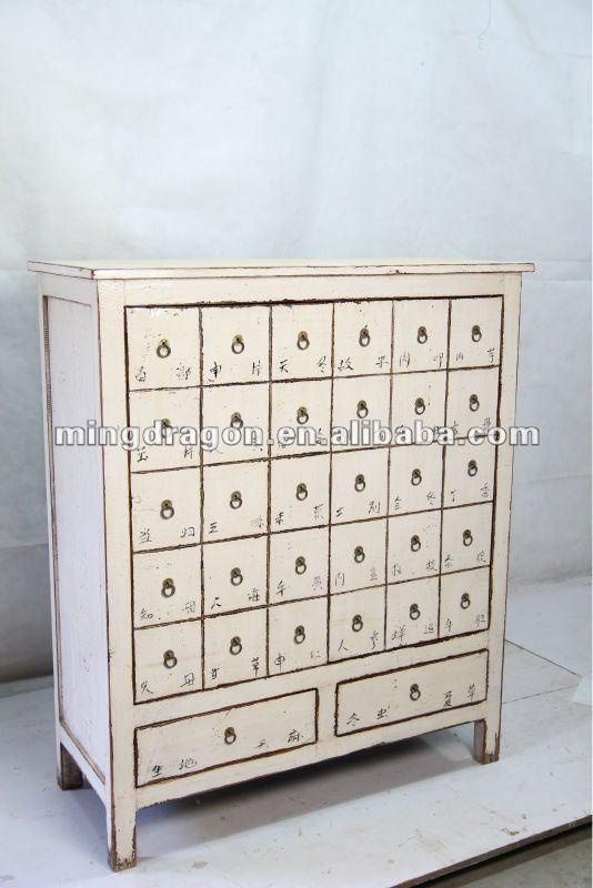 Chinese Antique White Medicine Cabinet