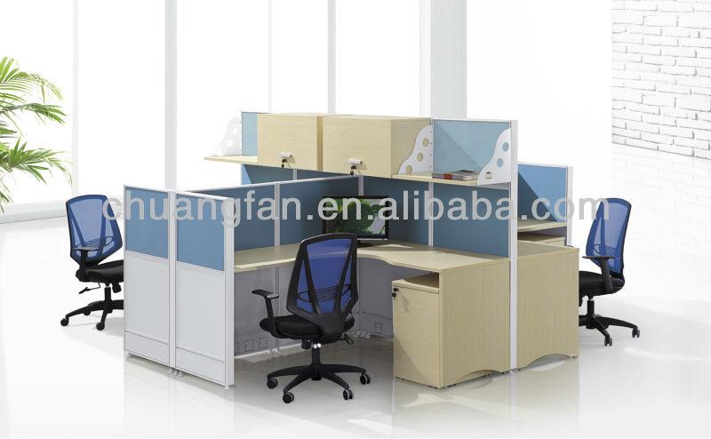 cf aluminum frame office modular desk computer workstation furniture for 4 people