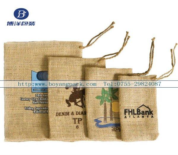 logotipo oem cordn anillo bolsa de arpillera para grano de caf regalo sals promocin boyang