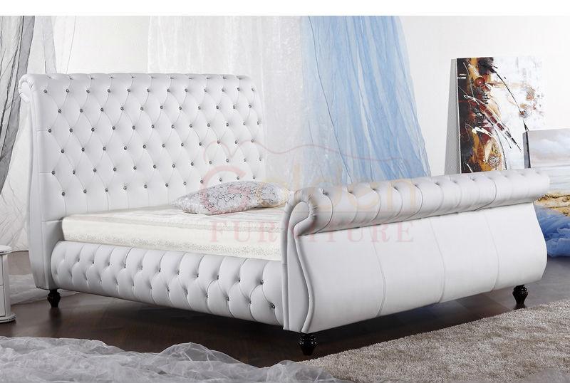 Crystal Diamond High Headboard Modern Elegant King Size Bed