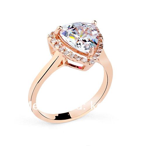 Beautiful 24K gold plated silver heart jewelry diamond ring saudi