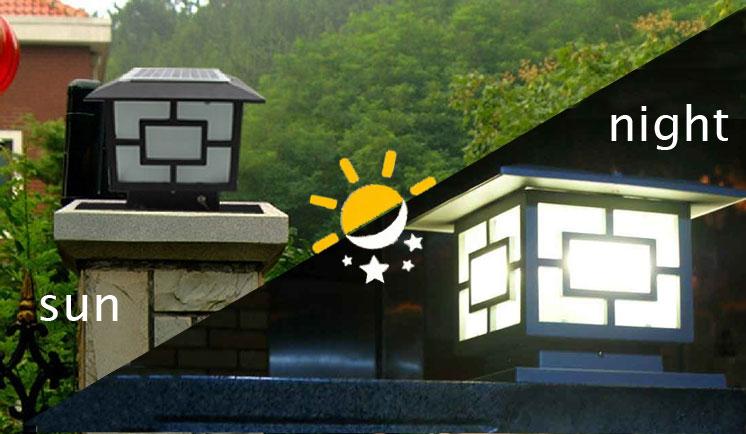 Outdoor Wall Lighting Solar Fence Post Caps Solar Pillar Light ...